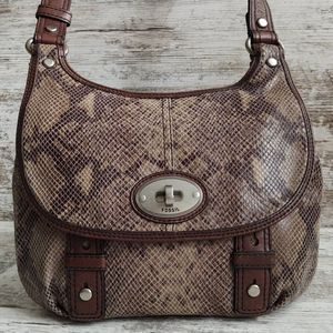 ⚂Fossil Taupe Snakeskin Brown Leather Crossbody